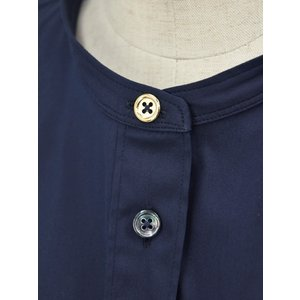 Bagutta【バグッタ】バンドカラーシャツ G_LERA CN0672 051 コットン ナイロン ネイビー|cinqessentiel|04