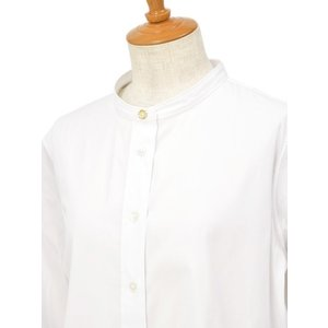 Bagutta【バグッタ】バンドカラーシャツ G_LERA CN0672 001 コットン ナイロン ホワイト|cinqessentiel|03