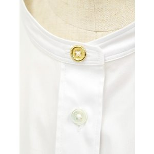 Bagutta【バグッタ】バンドカラーシャツ G_LERA CN0672 001 コットン ナイロン ホワイト|cinqessentiel|04
