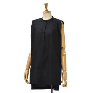 Bagutta【バグッタ】ノースリーブバンドカラーシャツ EDDA 05557 090 コットン ブラック|cinqessentiel
