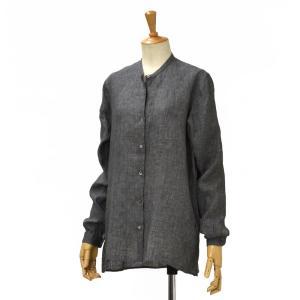 Bagutta【バグッタ】バンドカラーシャツ NELLIE 06188 081 リネン チャコールグレー|cinqessentiel