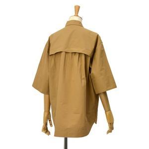 Bagutta【バグッタ】半袖ビッグシルエットシャツ POLOP 09103 070 コットン モカ|cinqessentiel|05