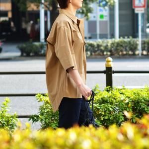 Bagutta【バグッタ】半袖ビッグシルエットシャツ POLOP 09103 070 コットン モカ|cinqessentiel|07