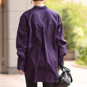 Bagutta【バグッタ】ビッグシルエットシャツ ALE 09604 230 コットン ネイビー レッド cinqessentiel 08