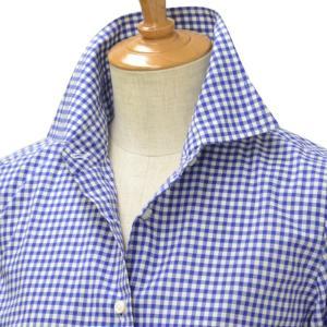 BARBA【バルバ】ギンガムチェックシャツ/ブラウス W58D27PZ5617X  cotton GINGHAM CHECK BLUE(ブルー)|cinqessentiel