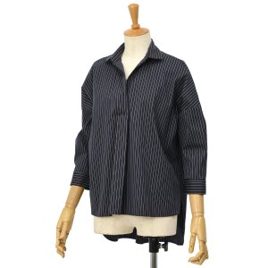 BARBA【バルバ】ストライプスキッパーシャツ PE1864U00961 コットン ナイロン ネイビー|cinqessentiel
