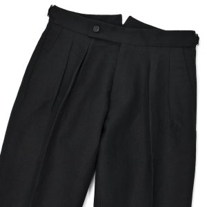 BERWICH【ベルウィッチ】ツープリーツパンツ SCOTCH AN1226 BLACK リネンコットン ブラック cinqessentiel