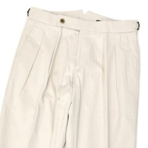 BERWICH【ベルウィッチ】ツープリーツパンツ SCOTCH DG1634 WHITE コットン ヘリンボーン オフホワイト|cinqessentiel