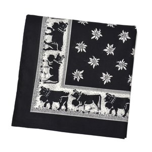 GLARNER TUECHLI【グラーナートゥエッチリ】バンダナ・ハンカチ BANDANA COW BLACK(ブラック)|cinqessentiel