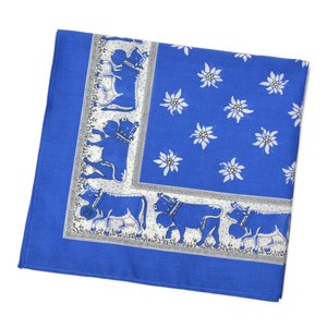 GLARNER TUECHLI【グラーナートゥエッチリ】バンダナ・ハンカチ BANDANA COW BLUE(ブルー)|cinqessentiel