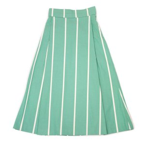 【size32,34】Borelio【ボレリオ】ストライプスカート ZOE 003 コットン グリーン ホワイト|cinqessentiel