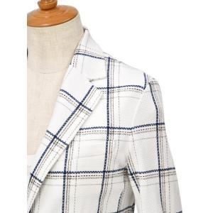 CIRCOLO 1901【チルコロ】チェック プリントハニカムジャケット 157515 NAVY コットン ホワイト ネイビー|cinqessentiel|02