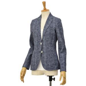 CIRCOLO 1901【チルコロ】ツイードプリントジャージジャケット ACD131107 BLU コットン ネイビー|cinqessentiel
