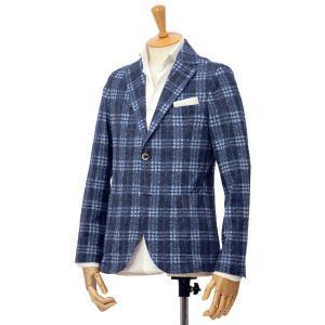 CIRCOLO 1901【チルコロ】タータンチェック ジャージージャケット ACU223516 BLU コットン ブルー|cinqessentiel