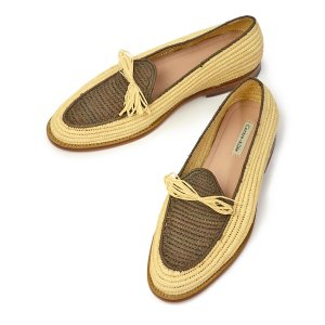 Contre-Allee【コントレアリー】リボンローファー Souliers BERNOUSSI Natural×Brown ラフィア ブラウン cinqessentiel