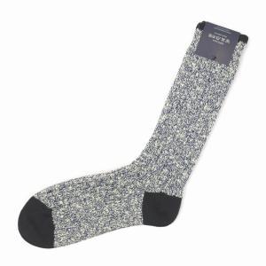 CORGI【コーギー】ソックス靴下 80 45 0005 Sock コットン 厚手 メランジ ネイビー|cinqessentiel