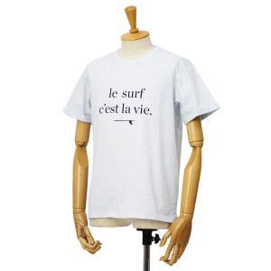 CUISSE DE GRENOUILLE【キュイス ドゥ グルヌイユ】プリントカットソー GALET 02 le surf c`est la vie. コットン アイスブルー cinqessentiel