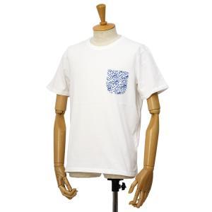 CUISSE DE GRENOUILLE【キュイス ドゥ グルヌイユ】プリントカットソー VAGUELETTE 09 OPTIC WHITE-LAPIS BLUE コットン ホワイト cinqessentiel