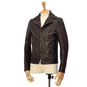 EMMETI【エンメティ】襟付きライダースジャケット ELTON NAPPA MANGA 0.4 Dark brown ラムレザー ダークブラウン|cinqessentiel