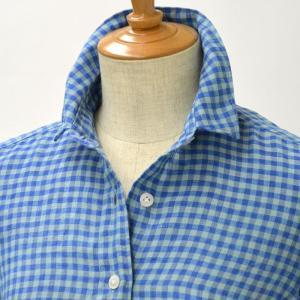 Finamore【フィナモレ】リネンマルチギンガムチェックシャツ 980105 01 GIULIA linen BLUE(ブルー) cinqessentiel