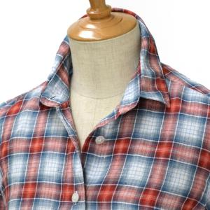 Finamore【フィナモレマドラスチェックリネンシャツ 081222 GIULIA linen MADRAS CHECK RED/GRAY(レッド/グレー) cinqessentiel