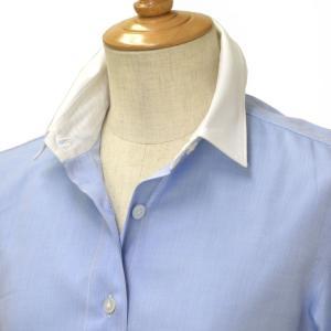 Finamore【フィナモレ】クレリックシャツ 840200 06 ZOE CLELIA コットン ブルー cinqessentiel