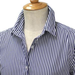 Finamore【フィナモレ】ストライプシャツ 012396 02 ZOE CLELIA コットン ホワイト ネイビー cinqessentiel