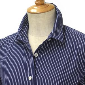 Finamore【フィナモレ】ピンストライプシャツ 012396 03 ZOE CLELIA コットン ネイビー ホワイト cinqessentiel