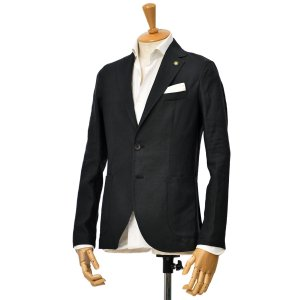 Giannetto【ジャンネット】シングルジャケット 0103-845CORA 0007 リネン ブラック|cinqessentiel
