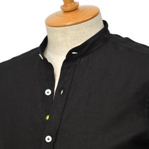 Giannetto【ジャンネット】リネンバンドカラーシャツ VINCIFIT 841370VLU 0008 ブラック|cinqessentiel