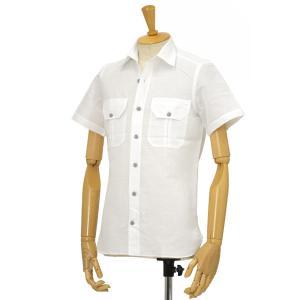 Giannetto【ジャンネット】半袖シャツ ALPHA 8G831APH65 001 リネン コットン ホワイト cinqessentiel