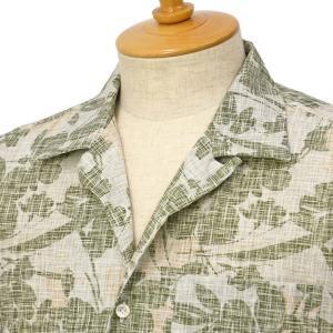 Giannetto【ジャンネット】開襟プリントシャツ AG933BOWMM 003 コットン グリーン|cinqessentiel