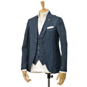 Giannetto【ジャンネット】シングルジャケット AG833JK 009 リネン ネイビー|cinqessentiel|02