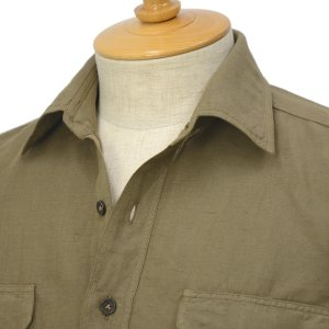 Giannetto【ジャンネット】ミリタリーシャツ ALPHA AG833ALP65 007 リネン オリーブ|cinqessentiel