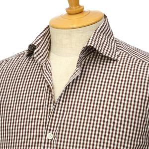 Giannetto【ジャンネット】ギンガムチェックシャツ VINCIFIT 26837V81 004 コットン ブラウン|cinqessentiel