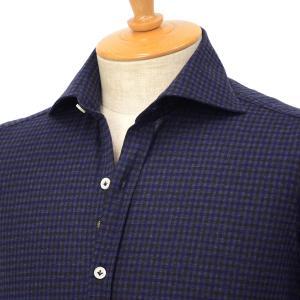 Giannetto【ジャンネット】ジャージーチェックシャツ VINCIFIT 92031186370V81 005 コットン ネイビー cinqessentiel