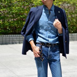 GITMAN VINTAGE【ギットマン ヴィンテージ】リネンシャンブレーシャツ U408-41 リネン ブルー cinqessentiel 07