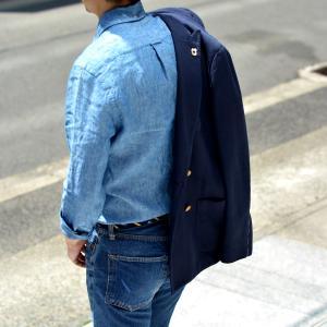 GITMAN VINTAGE【ギットマン ヴィンテージ】リネンシャンブレーシャツ U408-41 リネン ブルー cinqessentiel 09