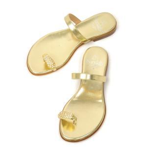 il Sandalo【イル サンダロ】サムループサンダル 170107 GOLD/CRYSTALL STRASS  LAMINATE platin GOLD ゴールド|cinqessentiel
