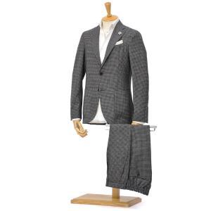 LARDINI【ラルディーニ】パッカブルスーツ マイクロギンガム EASY JP073AQ/EGEW52705/1 ウール ブラック|cinqessentiel