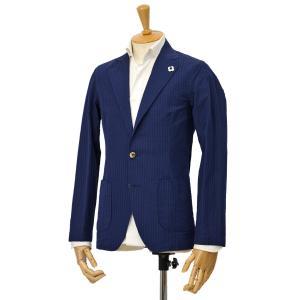 LARDINI【ラルディーニ】シアサッカーシャツジャケット JPAMAJ/EGC1054/800 コットンリネン ネイビー|cinqessentiel