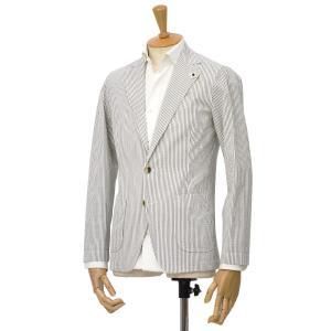 LARDINI【ラルディーニ】シアサッカーシャツジャケット JPAMAJ/EGC1052/510 コットン ホワイト/ブラウン|cinqessentiel