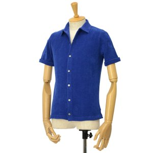 McLauren【マックローレン】パイル半袖シャツ DESKU 002 コットンレーヨン ブルー cinqessentiel