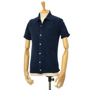 McLauren【マックローレン】パイル半袖シャツ DESKU 006 コットンレーヨン ネイビー cinqessentiel