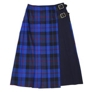 O'NEIL OF DUBLIN【オニールオブダブリン】フロントプリーツスカート COMBO FASHION WRAP KILT 11673 OLBOW/NYW ウール チェック ブルー|cinqessentiel