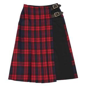 O'NEIL OF DUBLIN【オニールオブダブリン】フロントプリーツスカート COMBO FASHION WRAP KILT 11673 LOUMKW/BLKW ウール チェック レッド|cinqessentiel