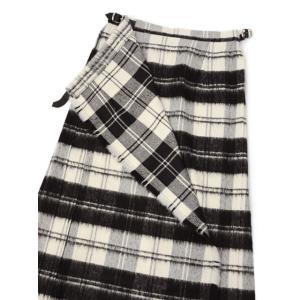 O'NEIL OF DUBLIN【オニールオブダブリン】バックプリーツスカート EASY LONG KILT 5083 BEWB ウール アクリル ホワイト ブラック|cinqessentiel|02