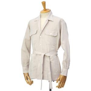 ORIAN【オリアン】ベルテッドサファリシャツジャケット LARMY U323 12 リネンコットン ベージュ|cinqessentiel