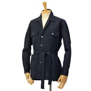 ORIAN【オリアン】ベルテッドサファリシャツジャケット LARMY U323 90 リネンコットン ブラック|cinqessentiel