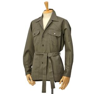 ORIAN【オリアン】ベルテッドサファリシャツジャケット LARMY U323 75 リネンコットン オリーブ|cinqessentiel